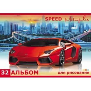 Альбом д/рис А4 32л скрепка, обложка картон, офсет 100 г/м2, Красивый спорткар и город