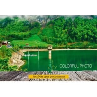 Альбом д/рис А4 32л скрепка, обложка картон, офсет 100 г/м2, Красочный пейзаж