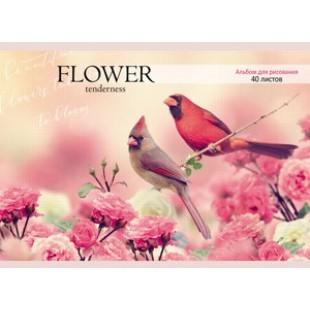 Альбом д/рис А4 40л скрепка, обложка офсет, офсет 100 г/м2, Птицы и розовые бутоны