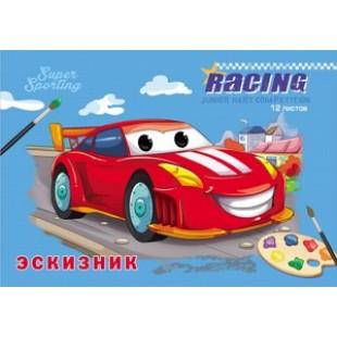 Альбом д/рис А4 12л скрепка, обложка офсет, офсет 100 г/м2, Красная гоночная машина (д/эскизов)