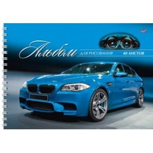 Альбом д/рис А4 40л гребень, обложка картон, офсет 100 г/м2, Элегантный синий автомобиль
