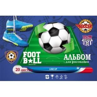 Альбом д/рис А4 20л скрепка, обложка картон, офсет 100 г/м2, Футбольный мяч и элементы