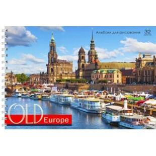 Альбом д/рис А4 32л гребень, обложка картон, офсет 110 г/м2, Европейская набережная