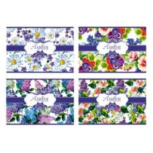 Альбом д/рис А4 16л скрепка, обложка картон, офсет 100 г/м2, блестки, Синие цветы (4вида)
