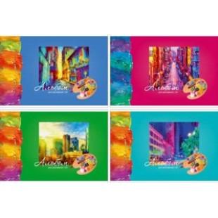 Альбом д/рис А4 24л скрепка, обложка картон, офсет 100 г/м2, Красочный город (4вида)