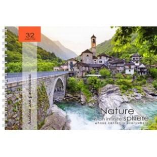 Альбом д/рис А4 32л гребень, обложка картон, офсет 110 г/м2, Живописный вид на мост