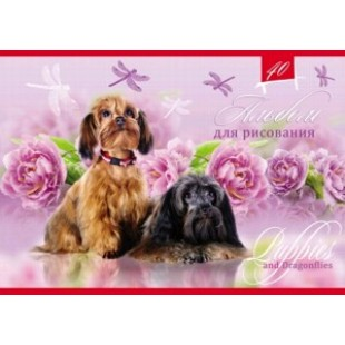 Альбом д/рис А4 40л скрепка, обложка картон, офсет 100 г/м2, Собачки и цветы