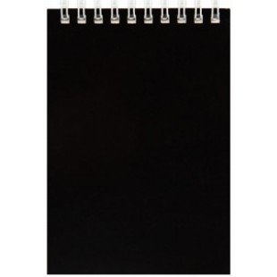 Блокнот А6 060л гребень, Черный, обл картон, офсет