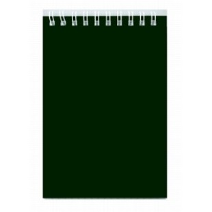 Блокнот А6 080л гребень, Темно-зеленый, обл картон, офсет 60г/м2, клетка