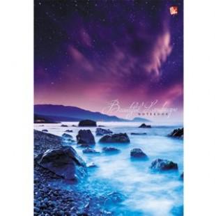 Блокнот А5 080л Бизнес, обл 7БЦ, Пейзаж. Морской берег, глянц/лам, офсет 60г/м2, клетка