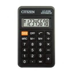 Калькулятор Citizen карман 08р, питание батарейка, черный, книжечка, 113х69х23мм