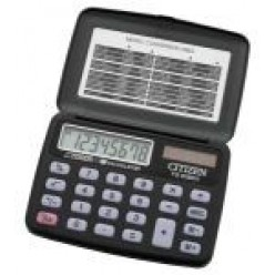 Калькулятор Citizen карман 08р, двойное питание, черный пластик с крышкой, 69х96,5х11,5мм