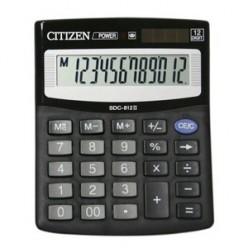 Калькулятор Citizen настол малый 12р, 2-е питание, черный пластик, 125х100х34мм