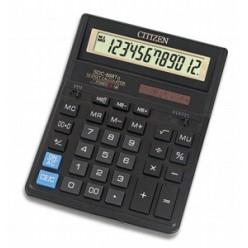 Калькулятор Citizen настол большой 12р, 2-е питание, 2 памяти, черный пластик, коррекция, 203х158х30