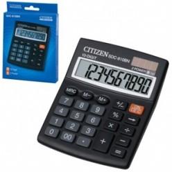 Калькулятор Citizen настол малый 10р, 2-е питание, черный пластик, 125х100х34мм