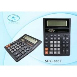 Калькулятор настол большой 12р, 2-е питание, 2 памяти, черный, коррекция, 206х164х30
