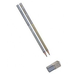 Карандаш ч/г Adel Elegance HB, серо-стальной, отделка серебро/золото (205-1162-004)