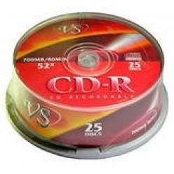 Компакт-диск CD-R записывающийся VS 700MB, 80 мин, 52х, 25 шт/уп Cake box