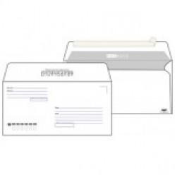 Конверт бумажный, 110х220мм Е65, офсет 080г/м2, стрип, прямой клапан, Куда-Кому, без запечатки, 1шт