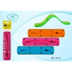 Линейка 015см пластиковая MC Basir, прозрачная, цветная, гибкая
