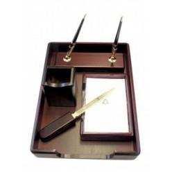 Набор настольный деревянный 05 предметов Bestar, красное дерево(подст д/руч., бум,стак. д/кар, лоток