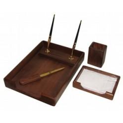 Набор настольный деревянный 05 предметов Bestar, орех (подст д/руч,бум,стак.д/кар,лоток)