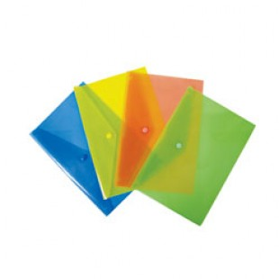 Папка-конверт пластиковая с кнопкой А4, 0.18мм, полупрозрачный, цвет синий (PK803Ablu)