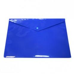 Папка-конверт пластиковая с кнопкой А4, 0.18мм, непрозрачная, цвет синий (PK803ANblu)