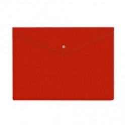 Папка-конверт пластиковая с кнопкой А4, 0.18мм, непрозрачная, цвет красный (PK803ANred)