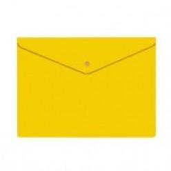 Папка-конверт пластиковая с кнопкой А4, 0.18мм, непрозрачная, цвет желтый (PK803ANyel)