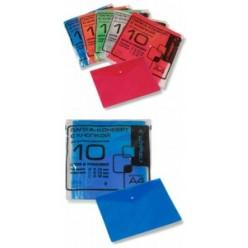 Папка-конверт пластиковая с кнопкой А4, 0.10мм, тиснение, цвет красный (PK100red)