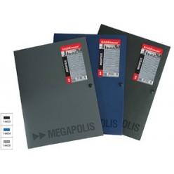 Папка пластиковая кнопка А4 EK Megapolis, 0,8мм 3 клапана, серый