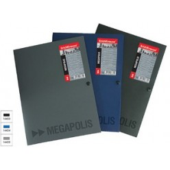 Папка пластиковая кнопка А4 EK Megapolis, 0,8мм 3 клапана, черная
