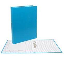 Папка картонная 2 кольца А4 35мм ламинированная, NEON, синяя