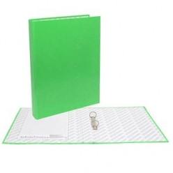 Папка картонная 2 кольца А4 35мм ламинированная, NEON, зеленая