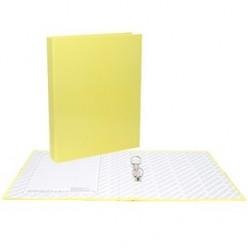 Папка картонная 2 кольца А4 35мм ламинированная, NEON, желтая