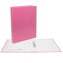 Папка картонная 2 кольца А4 35мм ламинированная, NEON, розовая
