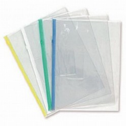 Папка пластиковая на молнии А5, 0.15мм, прозрачная, карман, цвет синий (BPM5A)