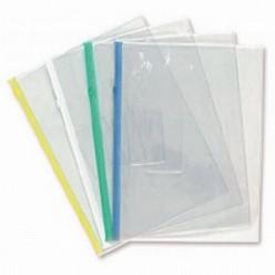 Папка пластиковая на молнии А5, 0.15мм, прозрачная, карман, цвет зеленый (BPM5A)