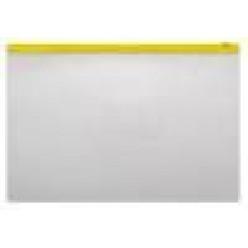 Папка пластиковая на молнии А4, 0.15мм, прозрачная, карман, цвет желтый (BPM4A)