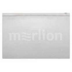 Папка пластиковая на молнии А4, 0.15мм, прозрачная, карман, цвет белый (BPM4A)