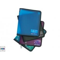 Папка пластиковая на молнии А4+, прозрачная, цвет ассорти, VIVID COLORS