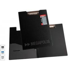 Планшет А4,  крышка, пластик, MEGAPOLIS, карман, черная