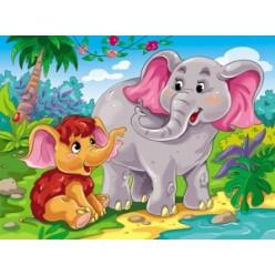 Настольное покрытие для лепки А3 Слон и мамонтенок
