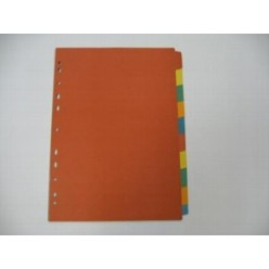 Разделитель цветной А4 10 разд, картон
