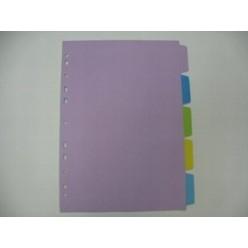 Разделитель цветной А4 05 разд, картон