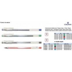 Ручка гел Crown, 0.5мм, корпус прозрач, метал/наконеч, колп/клип, ЧЕРНЫЙ