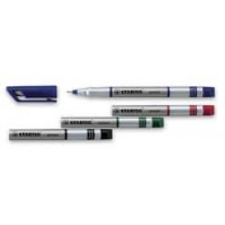 Ручка капиллярная 0,3мм Stabilo, серебристый/красный корпус, колпачек с клипом, цвет красный