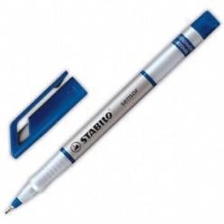 Ручка капиллярная 0,3мм Stabilo, серебристый/синий корпус, колпачек с клипом, цвет синий