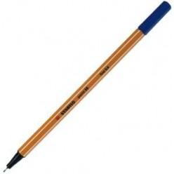 Ручка капиллярная 0,4мм Stabilo, желтый с белой полосой корпус, колпачек, цвет синий